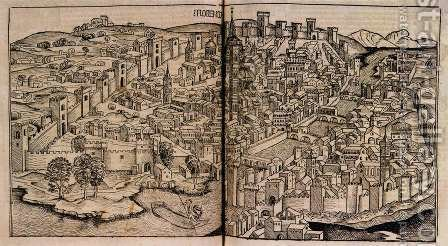Nuremberg Chronicle, View of Florence by Hartmann Schedel - Reproduction Oil Painting