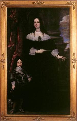 Famous paintings of Portraits: Portrait of Vittoria della Rovere and Cosimo III as a Child