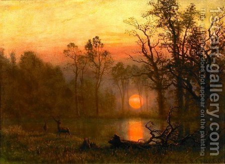 Sunset Over the Plains by Albert Bierstadt - Reproduction Oil Painting