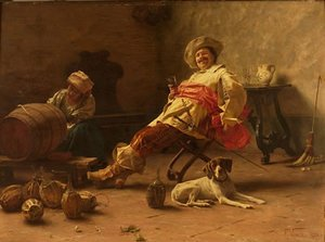 Famous paintings of Portraits: Musketeer and Dog