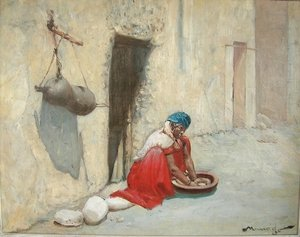 Famous paintings of Portraits: Lavandiere Tunisienne (Tunesian washing lady)