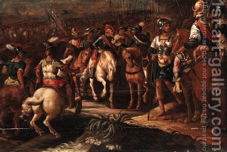 A cavalry battle scene by Hans Von Aachen - Reproduction Oil Painting