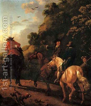 Huntsmen on horseback in a landscape by Abraham Van Calraet - Reproduction Oil Painting