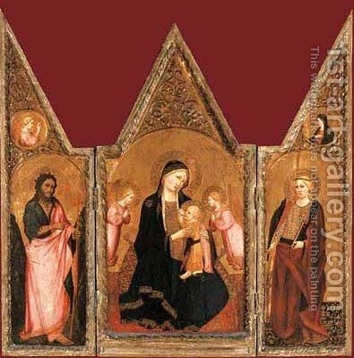 The Madonna of Humility with Saint Catherine and Saint John the Baptist by Agnolo Gaddi - Reproduction Oil Painting