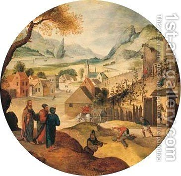 October An extensive landscape with Jesus telling the Parable by Abel Grimmer - Reproduction Oil Painting