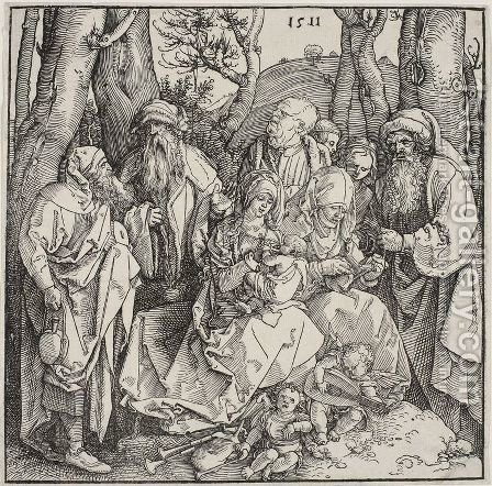 The holy kinship with the lute-playing angels 2 by Albrecht Durer - Reproduction Oil Painting