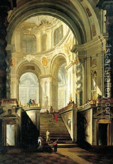 The interior of a classical library with figures by Giovanni Battista Tiepolo - Reproduction Oil Painting