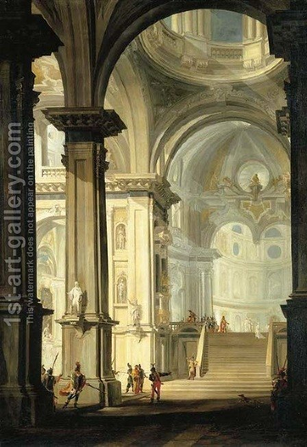 The interior of a church with Vestal Virgins and other figures by Giovanni Battista Tiepolo - Reproduction Oil Painting