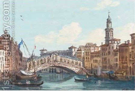 The Rialto Bridge, Venice 2 by Ippolito Caffi - Reproduction Oil Painting
