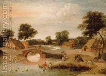 Summer A landscape with peasants dipping sheep in a river by Jacob Grimmer - Reproduction Oil Painting