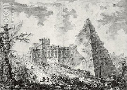 The Pyramid Of Caius Cestius, With The Porta S. Paolo And Adjoining Road by Giovanni Battista Piranesi - Reproduction Oil Painting