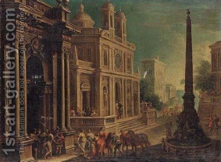 Elegant figures in architectural landscape by Alessandro Salucci - Reproduction Oil Painting