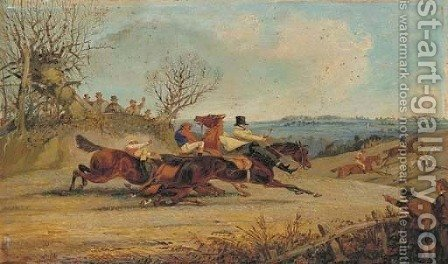 The Wakefield Steeplechase, 21st February 1849 by Henry Thomas Alken - Reproduction Oil Painting