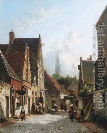 A sunlit street by Adrianus Eversen - Reproduction Oil Painting