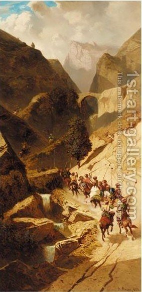 Persian Horsemen In The Shiraz Mountains 2 by Alberto Pasini - Reproduction Oil Painting