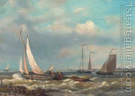 Barges in a calm by Abraham Hulk Snr - Reproduction Oil Painting