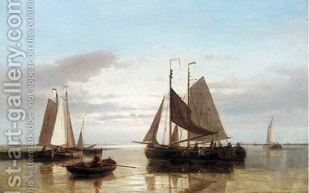 Shipping Off A Harbour 2 by Abraham Hulk Snr - Reproduction Oil Painting