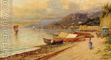 Boats on a Neapolitan shore by Giuseppe Carelli - Reproduction Oil Painting