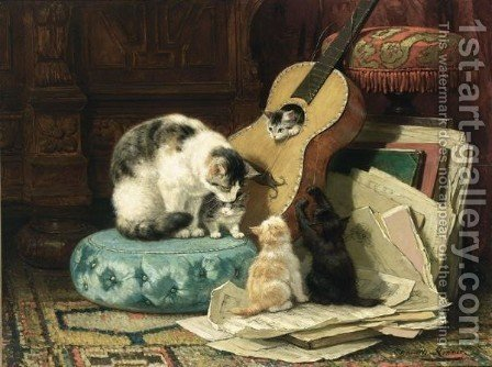 The Guitar Lesson by Henriette Ronner-Knip - Reproduction Oil Painting