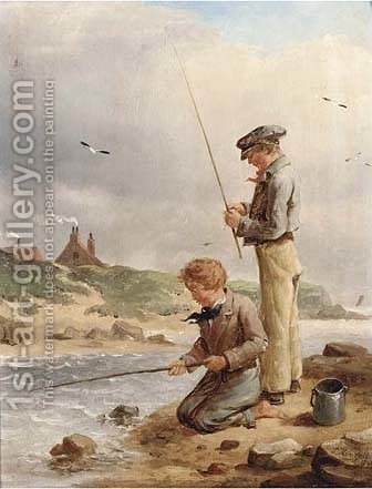The young anglers by Isaac Henzell - Reproduction Oil Painting