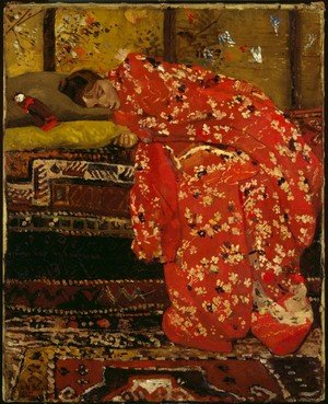 Famous paintings of Portraits: Girl in a red kimono