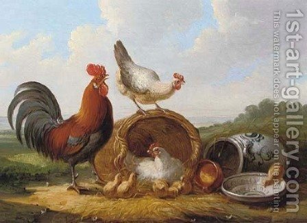 Poultry in an extensive landscape by Albertus Verhoesen - Reproduction Oil Painting