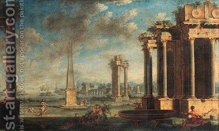 A capriccio of a Mediterannean harbour with Bacchants and classical ruins by Giovanni Ghisolfi - Reproduction Oil Painting