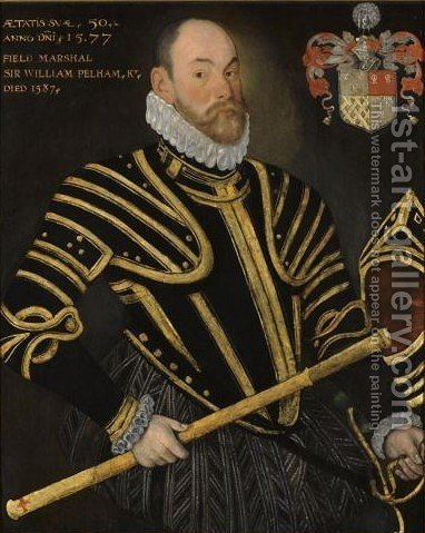 Portrait Of Field Marshal Sir William Pelham, Lord Justice Of Ireland (d. 1587) by Hieronymus Custodis - Reproduction Oil Painting