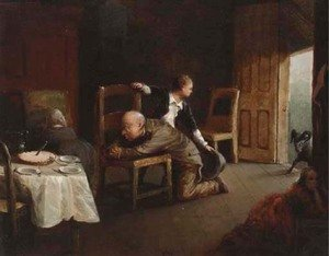 Famous paintings of Furniture: Family Prayers