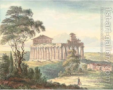 The Temple of Paestum, Naples by Harriet Cheney - Reproduction Oil Painting