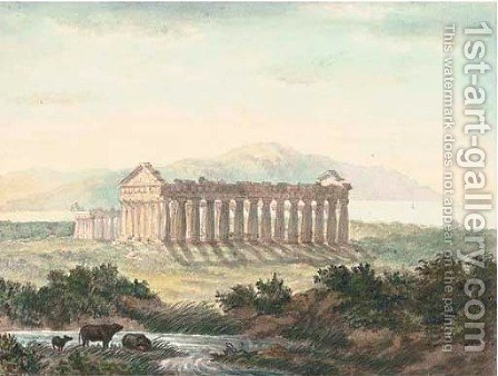 Cattle watering before the Temple of Paestum by Harriet Cheney - Reproduction Oil Painting