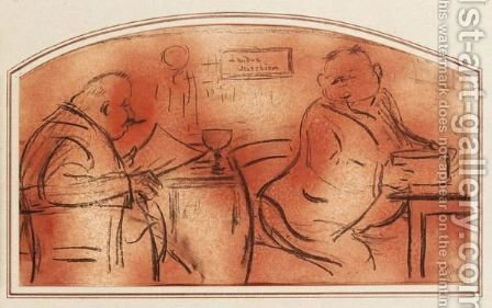 Zwei Herren Im Cafe (Two Men In A Cafe) by Heinrich Zille - Reproduction Oil Painting