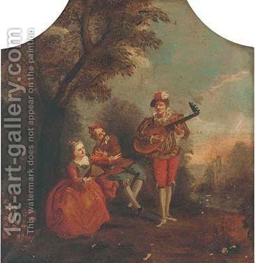 Elegant company making music in a landscape by (after) Watteau, Jean Antoine - Reproduction Oil Painting