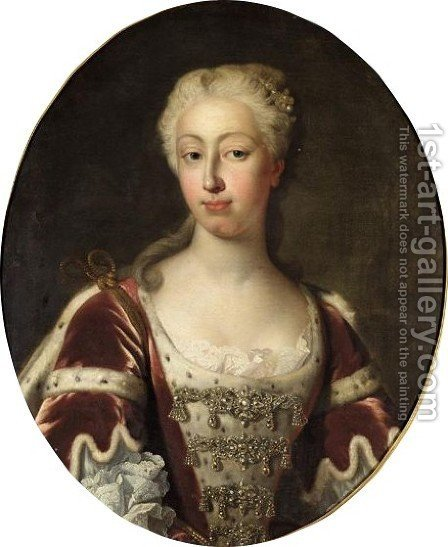 Portrait Of Augusta, Princess Of Wales by (after) Vanloo, Jean Baptiste - Reproduction Oil Painting