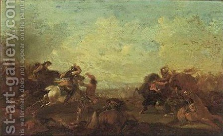 Cavalry Battle by (after) Rugendas, Georg Philipp I - Reproduction Oil Painting
