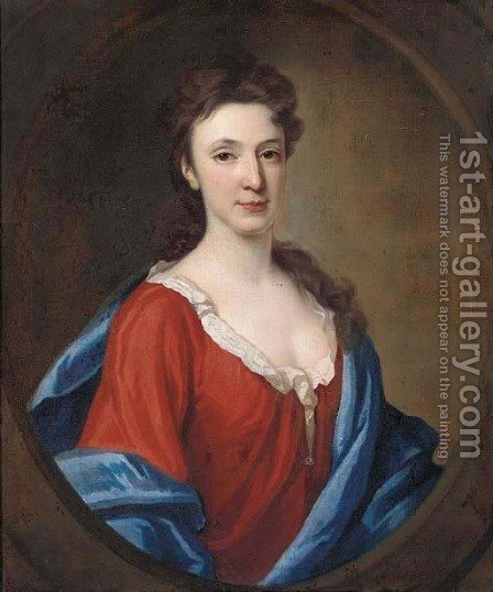 Portrait of a lady, bust-length, in a red dress and blue wrap by (after) Richardson. Jonathan - Reproduction Oil Painting