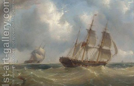 Frigates Off The Coast by Henry Redmore - Reproduction Oil Painting