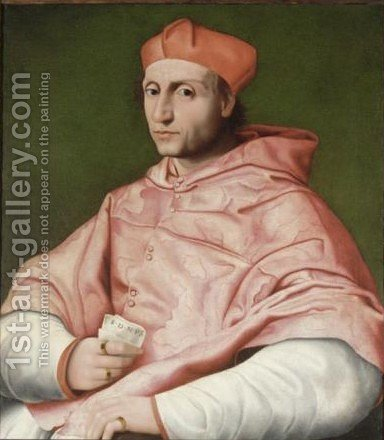 Portrait Of Cardinal Bibbiena (1470 -1520) by (after) Raphael (Raffaello Sanzio of Urbino) - Reproduction Oil Painting
