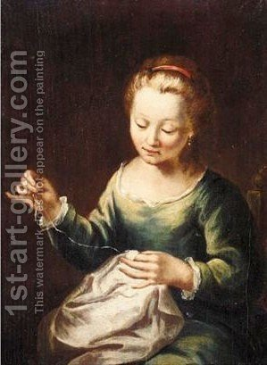 Portrait Of A Young Girl, Half Length, Sewing And Wearing A Green Dress by (after) Longhi, Pietro - Reproduction Oil Painting
