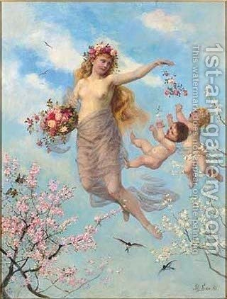 An allegory of Spring by Adolf Lins - Reproduction Oil Painting
