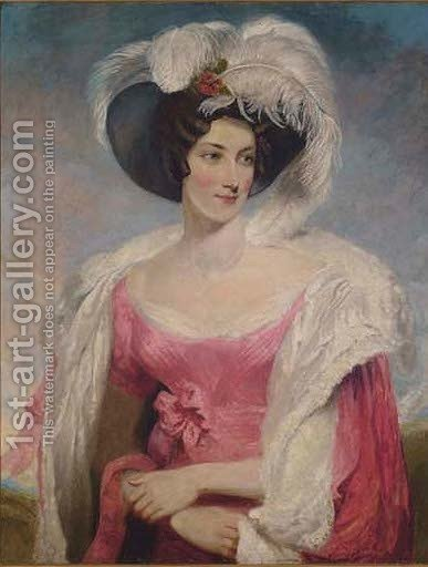 Portrait of Mrs Thomas Holroyd, half-length, in a pink dress by (after) Lawrence, Sir Thomas - Reproduction Oil Painting