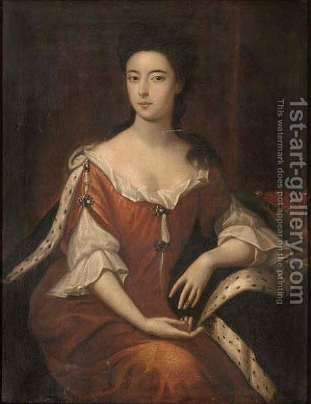 Portrait of Lady Dundonald, seated three-quarter-length, in a red dress with ermine trimmed robe, a crown to her left by (after) Kneller, Sir Godfrey - Reproduction Oil Painting
