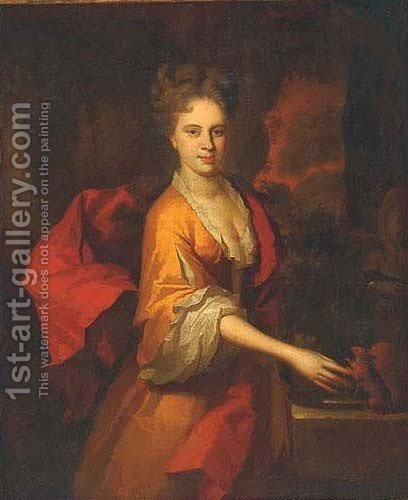 Portrait of Miss Lawrence by (after) Kneller, Sir Godfrey - Reproduction Oil Painting