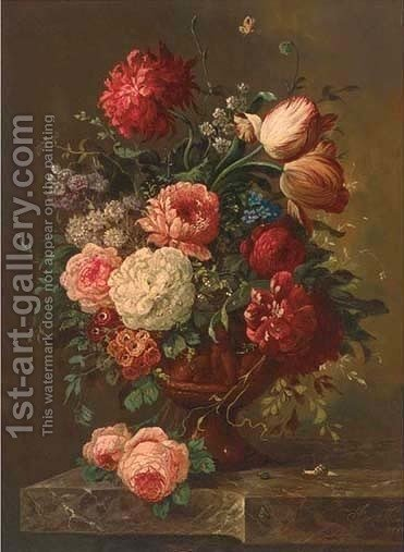 Parrot tulips, roses, chrysanthemums and other mixed flowers in an urn by (after) Huysum, Jan van - Reproduction Oil Painting