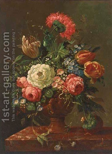 Parrot tulips, roses, chrysanthemums and other mixed flowers in an urn 2 by (after) Huysum, Jan van - Reproduction Oil Painting