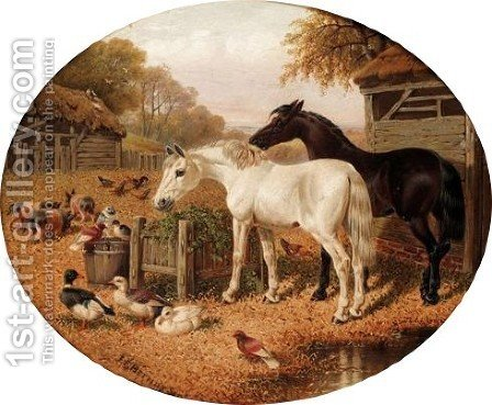 Farmyard Friends by (after) Herring Snr, John Frederick - Reproduction Oil Painting