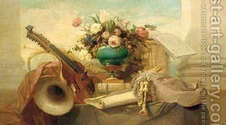 A lute, a tambourine, a panpipe and other instruments on a draped ledge, with a score of music and an urn on a plinth by Godefroy - Reproduction Oil Painting