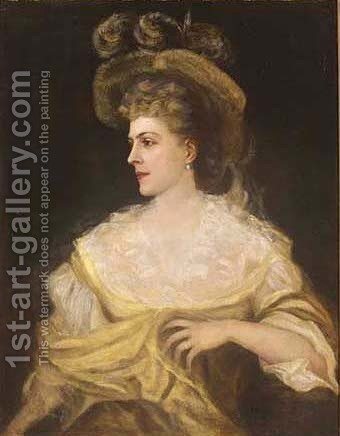 Portrait of a lady, half-length, in a yellow and white dress by (after) Gainsborough, Thomas - Reproduction Oil Painting
