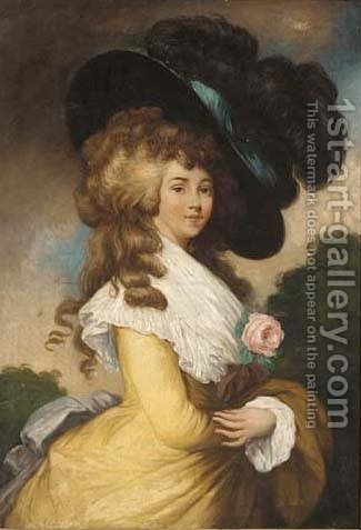 Portrait of Georgiana, Duchess of Devonshire (1757-1806) by (after) Gainsborough, Thomas - Reproduction Oil Painting