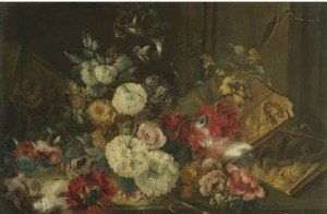 A Still Life With Roses, Carnations And Other Flowers Beside Sculpted Reliefs